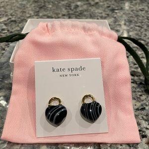 Kate Spade Open Heart Black Earrings
